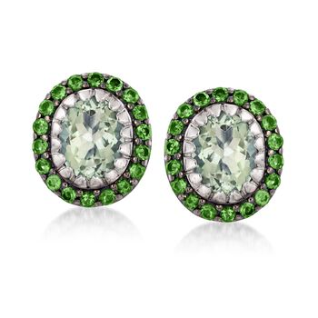 4.80 ct. t.w. Green Amethyst and 1.40 ct. t.w. Green Chrome Diopside Earrings in Sterling Silver, , default