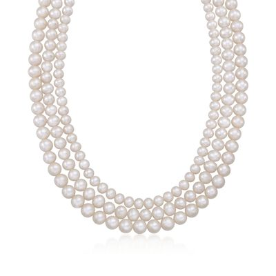 5-8mm Cultured Pearl Three-Strand Necklace with Sterling Silver, , default