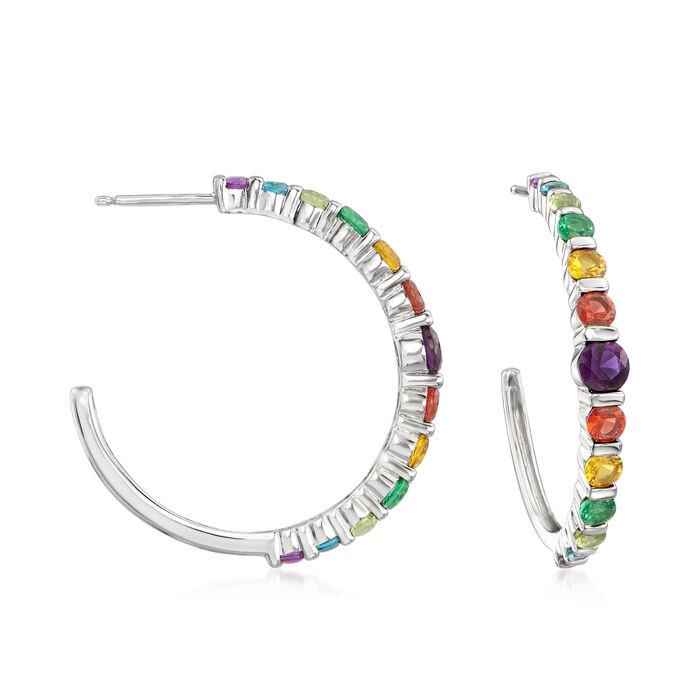 "2.05 ct. t.w. Rainbow CZ C-Hoop Earrings in Sterling Silver. 1"", , default"