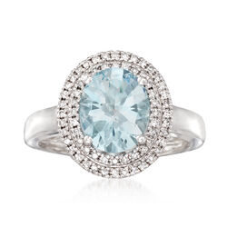 2.40 Carat Aquamarine and .27 ct. t.w. Diamond Ring in 14kt White Gold, , default