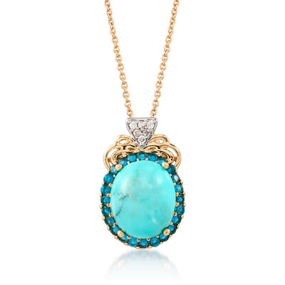 Turquoise and .70 ct. t.w. Apatite Pendant Necklace With Diamond Accents in 14kt Yellow Gold, , default