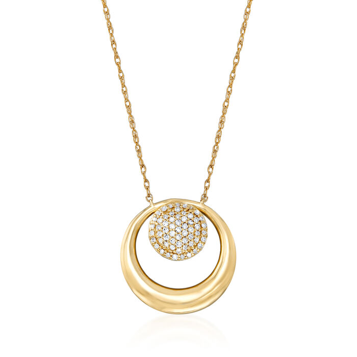 .10 ct. t.w. Pave Diamond Circle Necklace in 14kt Yellow Gold