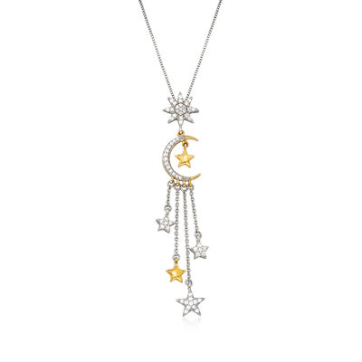 .33 ct. t.w. Diamond Moon and Star Pendant Necklace in Sterling Silver and 18kt Gold Over Sterling, , default