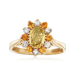 C. 1980 Vintage Yellow Sapphire, Diamond and Citrine Ring in 14kt Yellow Gold, , default