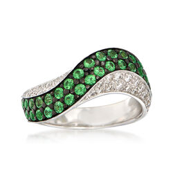 C. 2000 Vintage .75 ct. t.w. Green Tsavorite and .30 ct. t.w. Diamond Wave Ring in 14kt White Gold, , default
