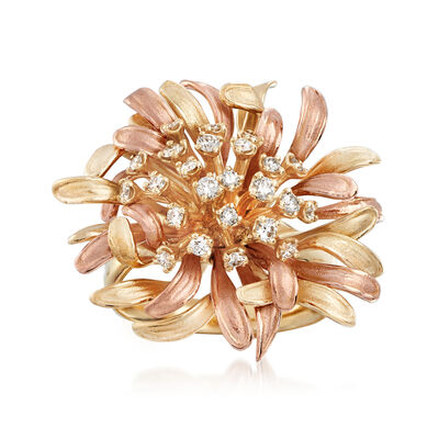 .53 ct. t.w. Diamond Flower Ring in 14kt Two-Tone Gold, , default