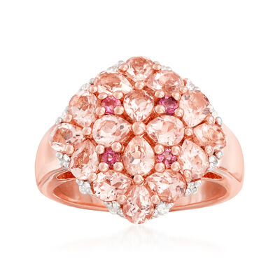 2.14 ct. t.w. Multi-Gem Ring in 18kt Rose Gold Over Sterling Silver