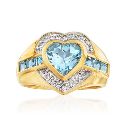 2.50 ct. t.w. Blue and White Topaz Heart Ring in 18kt Gold Over Sterling with Sterling Silver, , default