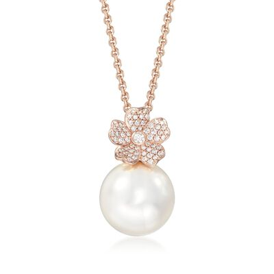 "Mikimoto ""Cherry Blossom"" 12mm A+ South Sea Pearl and .22 ct. t.w. Diamond Floral Necklace in 18kt Rose Gold, , default"