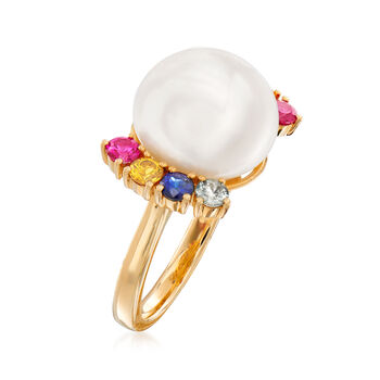 Cultured Pearl and .80 ct. t.w. Multi-Gemstone Ring in 14kt Yellow Gold. Size 7, , default