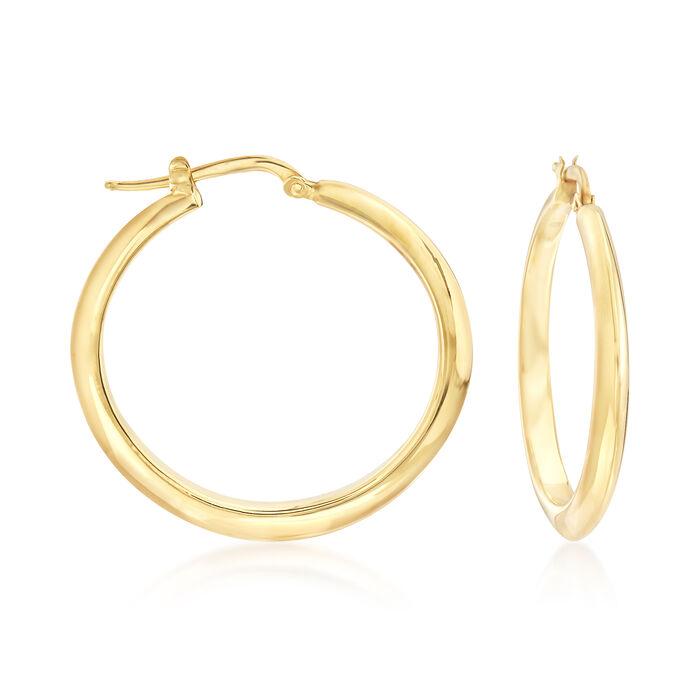 """Italian Hoop Earrings in 14kt Yellow Gold. 1 1/4"""", , default"""