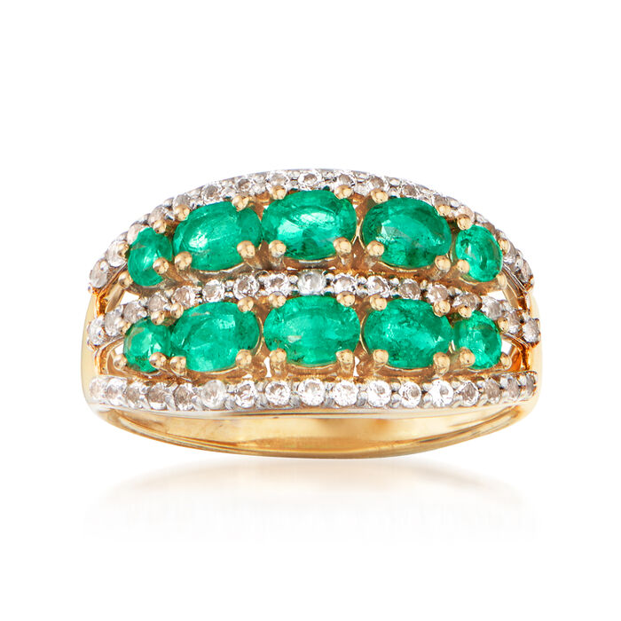 1.20 ct. t.w. Emerald and .40 ct. t.w. White Topaz Ring in 18kt Gold Over Sterling