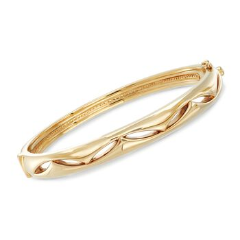 14kt Yellow Gold Bangle Bracelet With Marquise-Shaped Cutouts, , default