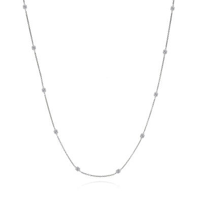 3.40 ct. t.w. Diamond Station Necklace in 14kt White Gold, , default