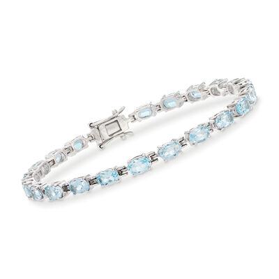 13.00 ct. t.w. Blue Topaz Tennis Bracelet in Sterling Silver, , default