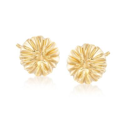 Italian Andiamo 14kt Yellow Gold 12mm Ribbed Stud Earrings, , default