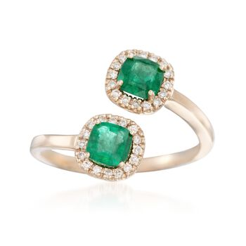 1.00 ct. t.w. Emerald and .16 ct. t.w. Diamond Bypass Ring in 14kt Yellow Gold, , default