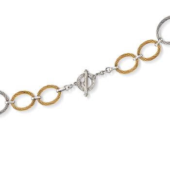 "ALOR ""Classique"" Two-Tone Stainless Steel Cable Multi-Link Necklace. 17.5"", , default"