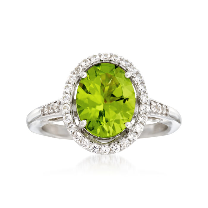 2.80 Carat Peridot and .51 ct. t.w. White Zircon Ring in Sterling Silver. Size 10
