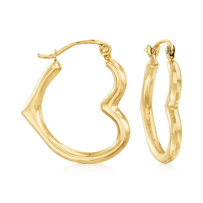 14kt Yellow Gold Heart Outline Hoop Earrings