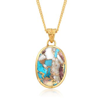"""Oval Kingman Turquoise Pendant Necklace in 18kt Gold Over Sterling. 16"""", , default"""