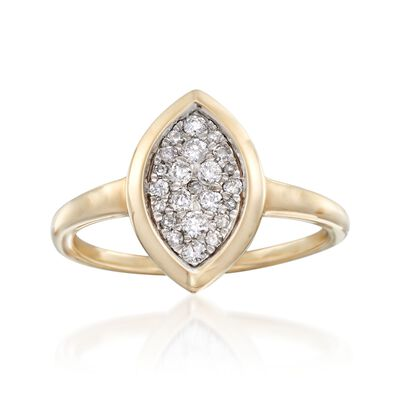 .25 ct. t.w. Pave Diamond Marquise Ring in 14kt Yellow Gold, , default