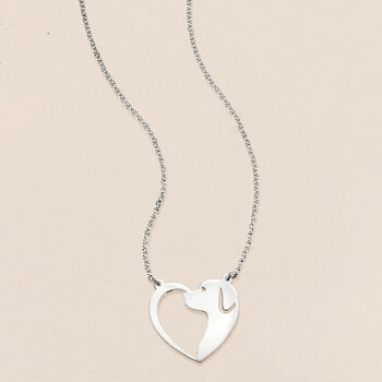"""Sterling Silver Dog Silhouette Heart Necklace. 18"""""""