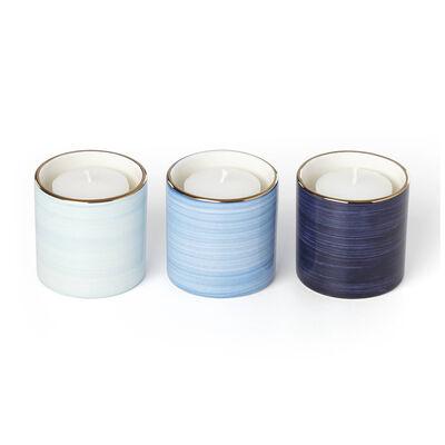 "Kate Spade New York ""Charles Lane"" Indigo 3-pc Porcelain Votive Set, , default"