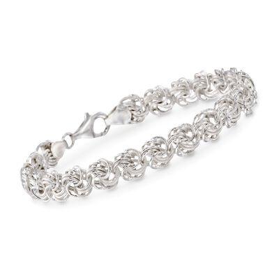 Italian Sterling Silver Small Rosette Link Bracelet, , default