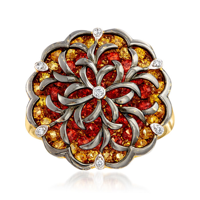 C. 1980 Vintage 2.70 ct. t.w. Yellow and Orange Sapphire Ring with Diamond Accents in 14kt Two-Tone Gold