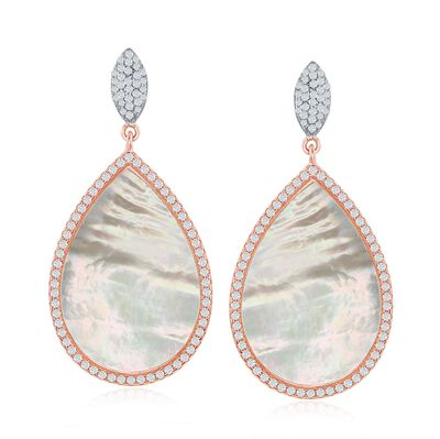 Mother-Of-Pearl and 1.20 ct. t.w. CZ Drop Earrings in Two-Tone Sterling Silver, , default
