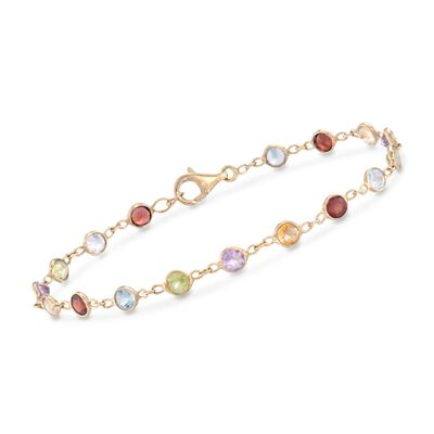 5.25 ct. t.w. Multi-Stone Bracelet in 14kt Gold Over Sterling, , default