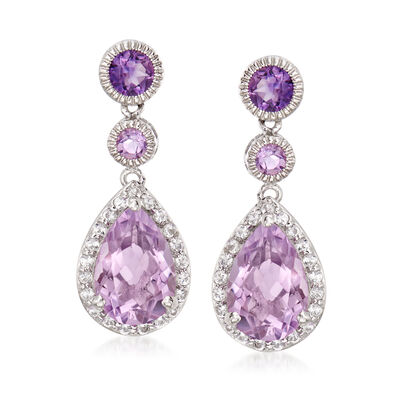 5.80 ct. t.w. Amethyst and .70 ct. t.w. White Topaz Drop Earrings in Sterling Silver, , default