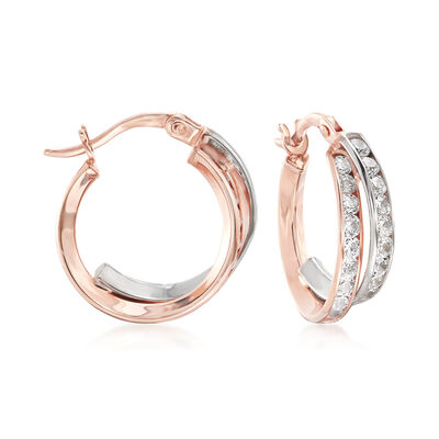Italian 14kt Two-Tone Gold Crisscross Hoop Earrings, , default