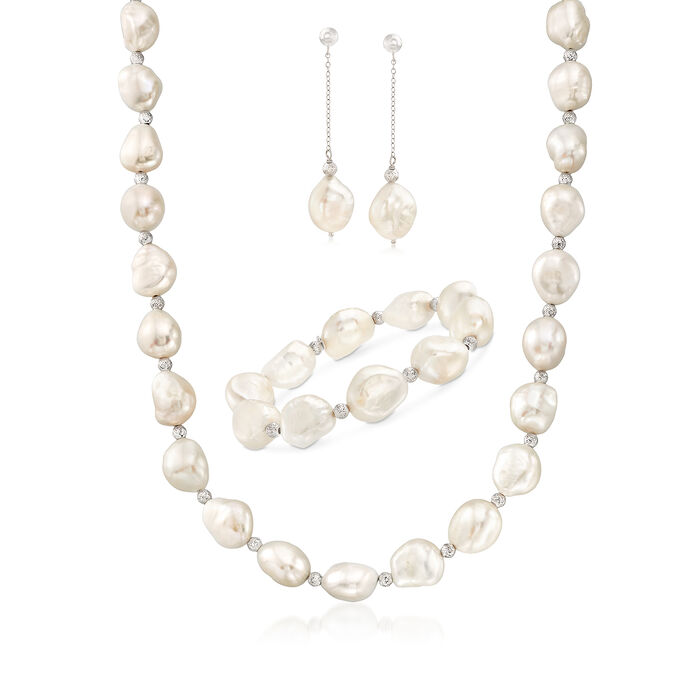 11-12mm Cultured Baroque Pearl and Sterling Silver Jewelry Set: Earrings, Bracelet and Necklace. 18""