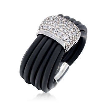 "Belle Etoile ""Adagio"" .70 ct. t.w. CZ and Black Rubber Ring in Sterling Silver. Size 7, , default"