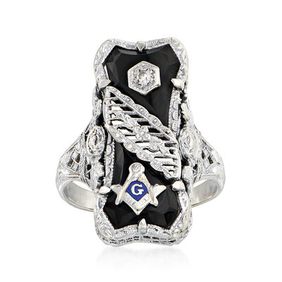 C. 1960 Vintage Diamond-Accented Black Onyx Masonic Ring in 14kt White Gold, , default