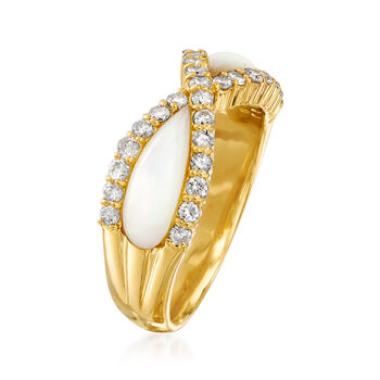 C. 1990 Vintage Mother-Of-Pearl and .55 ct. t.w. Diamond Ring in 18kt Yellow Gold. Size 6.25