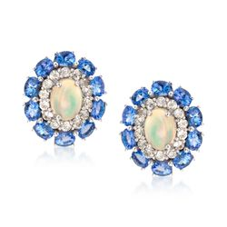 Opal and 3.00 ct. t.w. Tanzanite Earrings With White Topaz in 14kt White Gold Over Sterling, , default