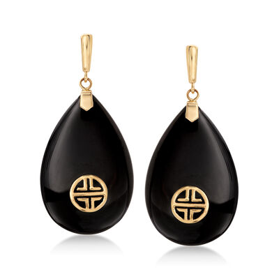 "Black Onyx ""Long Life"" Drop Earrings with 14kt Yellow Gold, , default"