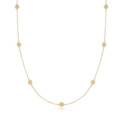 "Roberto Coin ""Baroco"" .43 ct. t.w. Diamond Station Necklace in 18kt Gold, , default"