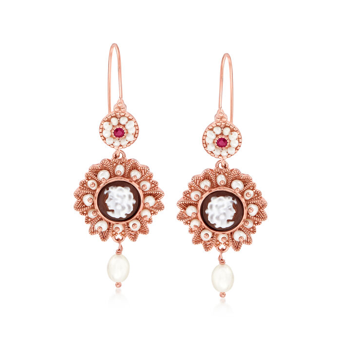 Italian Brown Shell, Cultured Pearl and Ruby Cameo Drop Earrings in 18kt Rose Gold Over Sterling