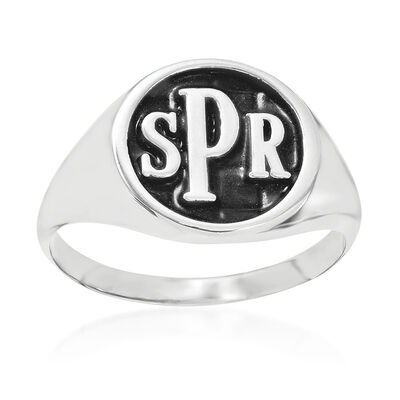 Sterling Silver Antiqued Monogram Signet Ring, , default