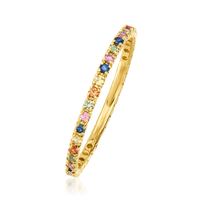 .45 ct. t.w. Multicolored Sapphire Eternity Band in 14kt Yellow Gold