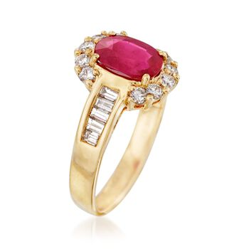 1.50 Carat Ruby and .65 ct. t.w. Diamond Halo Ring in 14kt Yellow Gold