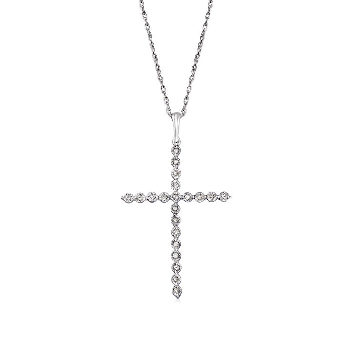 .10 ct. t.w. Diamond Cross Pendant Necklace in Sterling Silver, , default