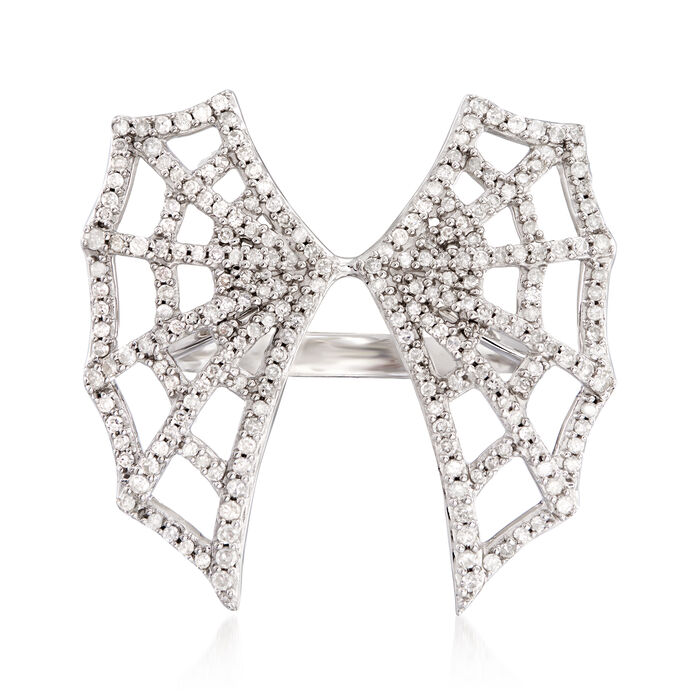 .50 ct. t.w. Diamond Spider Web Ring in Sterling Silver, , default