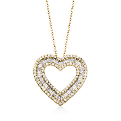 3.00 ct. t.w. Baguette and Round Diamond Heart Pendant Necklace in 18kt Gold Over Sterling, , default