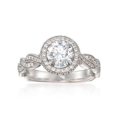 Simon G. .51 ct. t.w. Diamond Engagement Ring Setting in 18kt White Gold, , default