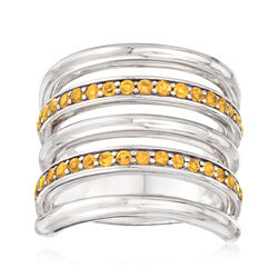 Italian .70 ct. t.w. Citrine Multi-Row Ring in Sterling Silver, , default